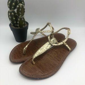 Sam Edelman GiGi 10M Gold Thong Sandals
